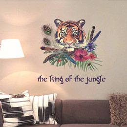 $enCountryForm.capitalKeyWord Canada - Colorful Feather Tiger the King of the Jungle Wall Stickers Living Room Bedroom Hallway Wall Applique Kids Room Creative Wallpaper Poster