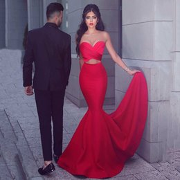 Wholesale Said Mhamad Red Two Pieces Prom Dresses Mermaid Sweetheart Pleated Criss Cross Sweep Train Party Wear Cheap From China