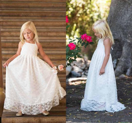 Barato Linda Linha Halter Chão-2017 White Lovely Flower Girl Vestidos Lace Halter Neck Pavimento Comprimento Comprimentos A Line Kids Girls Dress para banquete de casamento Custom Made Cheap