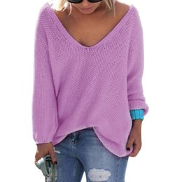 Loose Sweaters Pas Cher-Autumn Womens Cute Elegant V Neck Loose Casual Knit Sweater Pullover Long Sleeve Spring Sweater Tops sueter mujer