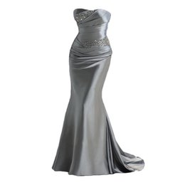 Robes D'argent Argentées Pas Cher-Cheap Prom Dresses Mermaid Style 2017 Sweetheart perlé Satin Silver Girls Dress Up