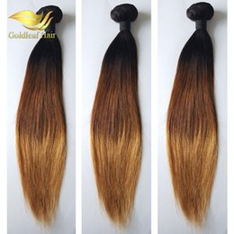 18 Inch Weave Price Canada - Wholesale Price Three Tone Ombre Hair Straight T1B 4 27 Ombre Hair Extensions Brazilian Peruvian Malaysian Hair Weaving
