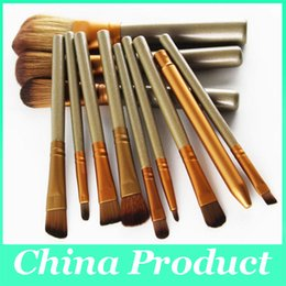 wholesale cosmetic makeup brushes NZ - New 12 pcs Bamboo Handle Soft Synthetic Hair professional Makeup Brushes Kabuki Powder Foundation blusher Cosmetic Brushes With Box