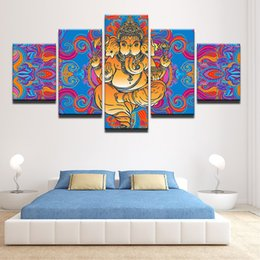 Discount picture nude painting - 5 Pieces India God Ganesha Wall Art Canvas Pictures For Living Room Home Decor Printed Canvas Paintings