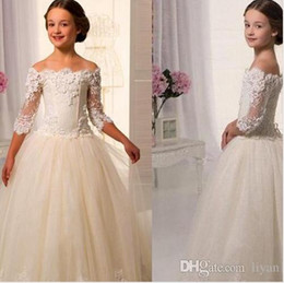 $enCountryForm.capitalKeyWord Canada - 2016Hot Sale Scoop Lace Applique A Line Full Length Tulle Long Sleeves Flower Girl Dresses For Weddings First Communion Dress Gowns03