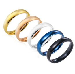 Stainless Steel Finger Rings Wholesale Canada - Fashion 5 colours Stainless Steel Ring Titanium Glaze Finger Band Rings for Women Men Band jewelry Mixed Size#6 7 8 9 10 11