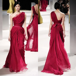 $enCountryForm.capitalKeyWord NZ - Modest 2016 Dark Red Chiffon Elie Saab Long Evening Dresses Cheap One Shoulder Lace Ruched Sash Formal Red Carpet Dress Custom Made EN9098