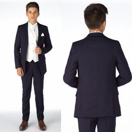Barato Smoking Para Meninos-Boys Tuxedo Boys Dinner Suit para terno formal de casamento Smoking para crianças Fatos formais para homens pequenos Venda quente (jaqueta + calça + colete)