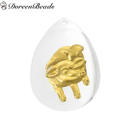 Zodiac Gold Charms Canada - Resin Charm Pendants Teardrop White Golden Chinese Zodiac Pig Pattern 3.6cm x 26.0mm, 10 PCs 2016 new Free shipping jewelry making