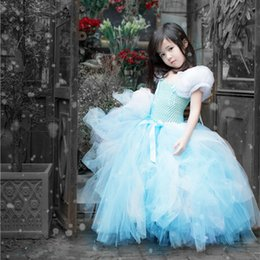 Tutus De Noël Bon Marché Pour Bébés Pas Cher-Princess Flower Girls Robes Sky Blue Puffy Tulle 2017 Cheap Baby Girl Birthday Party Robes de Noël Tutu Robes de soirée pour enfants
