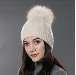 73c25df74c0d2 FUR Winter fur pompom hat for women cashmere wool cotton hat Big Real  Raccoon fur pompom Beanies cap Fox fur bobble hat