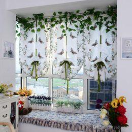 $enCountryForm.capitalKeyWord NZ - 1Pc Light Filtering Fabric Fold Roman Shade Butterfly Printed Window Treatment Sheer Curtains E00616 OSTH
