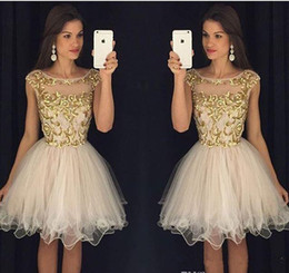 2017 Champagne Short Prom Dresses Sheer Crew Neck Cap Sleeves Homecoming  Dresses with Gold Embroidery Backless Mini Cocktail Dresses 55efc554b8e0