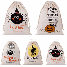 Personalized Drawstring Bags Canada - Halloween Sacks Bag Canvas Personalized Children Candy Gifts Bag Pumpkin Spider treat or trick Drawstring Bags