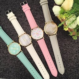 Gift Tags For Christmas Canada - Women's watch 4 colors Leather quartz watch Geometry design Couples watch For Christmas gifts, birthday gifts Free DHL Fedex UPS