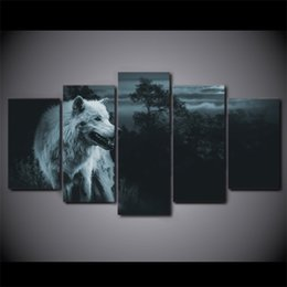 $enCountryForm.capitalKeyWord NZ - 5 Pcs Set HD Printed Night Wolf In Forest Animal Wall Picture Canvas Modern Framed Painting For Kid Room Wall Poster