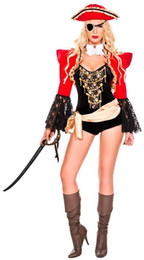 Barato Trajes Do Caribe Para Mulheres-Sexy Caribbean Pirate Halloween Costume Cosplay Fantasia Fancy Dress Pirate Hat Adulto Traje Carnaval Traje para Mulheres