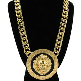 Lion head charm goLd online shopping - hot sale Fashion women girl Punk Vintage Gold wide Chain Lion head Avatar necklace Rihanna style
