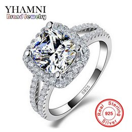 Wholesale YHAMNI Original Fashion Jewelry 925 Sterling Silver Wedding Rings for women With 8mm CZ Diamond Engagement Ring Wholesale J29HG