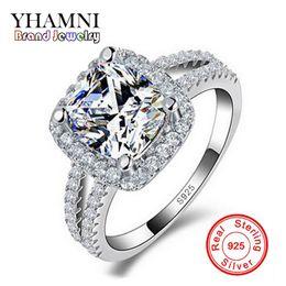 YHAMNI Original Fashion Jewelry 925 Anéis De Casamento De Prata Esterlina para as mulheres Com 8mm CZ Anel De Noivado De Diamante Atacado J29HG em Promoção