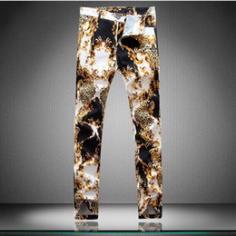 брюки для мужчин leopard print оптовых-new spring hip hop style Unique Leopard printed pants men casual slim Daisy printed pants for men plus large size