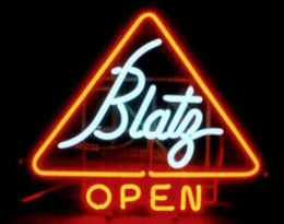 "neon open sign white Australia - Blatz Open Neon Sign Custom Handmade Real Glass Tube Store Beer Bar KTV Club Pub Hotel Adverisement Display Neon Signs 17""X14"""