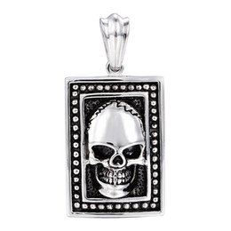 "Rocker Pendants NZ - Brand New Vintage Rocker Stainless steel Large Dog Tag Biker Skull Necklace Pendant with 4mm*22"" Rope Chain"