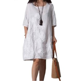 Wholesale linen dresses for sale - Group buy Cotton Linen Dress Women Summer New Fashion Costume Embroidery Dress Round Neck Middle Sleeves Loose Plus Size