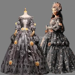 $enCountryForm.capitalKeyWord Canada - High-grade Vintage Gray Floral Marie Antoinette Renaissance Ball Gowns Historical Period Dress Carnival Halloween Stage Costume