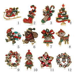 new xmas gifts jewelry wholesale christmas tree brooches vintage alloy multicolor crystal christmas brooch bouquet costume pins in stock - Wholesale Vintage Christmas Decorations