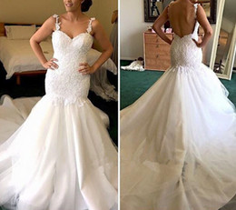 $enCountryForm.capitalKeyWord NZ - Strapless Wedding Dresses Sweetheart Lace Appliques Tulle Customized Wedding Dress Floor Length Backless Mermaid Bridal Gowns 2017 New