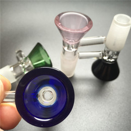 14mm bowl male NZ - Colorful Glass Bowl for Bong 14mm 18mm male Thick Colorful Heady Glass Water Pipes with Green Blue Pink Black Bong Bowl