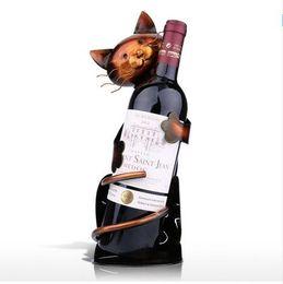 $enCountryForm.capitalKeyWord NZ - Cat Shaped Wine Holder Wine shelf Metal Figurine Practical Figurine Rack For Wine Bottle Office Home Decor