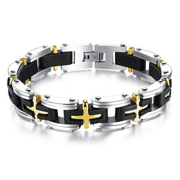 """$enCountryForm.capitalKeyWord Canada - Men's Cross Stainless Steel Silver Gold Religious Crucifix Crosss Silicone Mens Bracelet Chain Fashion Surfer Jewelry, 8.26"""""""