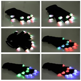 LED Spark Gloves Colorful DJ LED Flashlight Gloves Shine Entertainment Tool Clap Hand Knitting Gloves YC2107 on Sale