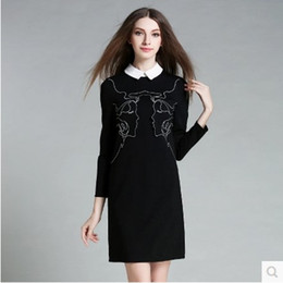 black mini tube dress NZ - 2016 autumn outfit new women, fashion loose straight tube character printed dress, doll collar, black nine points long sleeve.