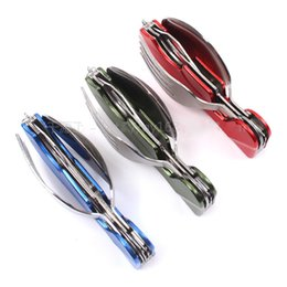 Acier Détachable Pas Cher-Ensemble de coutellerie Détachable Multi-fonction Hang Key Buckle Knife Fork Spoon Suit Acier inoxydable Dishware portable pratique 9qy F R