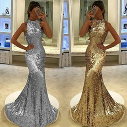 Barato Barato Vestido De Noite De Prata Longo-Sparkly Silver Gold Sequined Prom Dresses 2017 Bolsas de pescoço alto Mermaid Long Vestidos de noite formal Cheap Fashion Party Wear