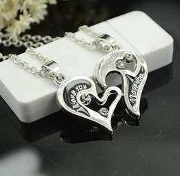 $enCountryForm.capitalKeyWord Canada - Part Heart Necklace Silver Puzzle Necklace Heart Love Letter Silver Plated Pendant Pendant Gift For Friend