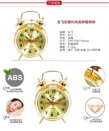table clock mechanical Canada - Genuine co Jizhuo Mi Fei small metal table clock mechanical clock winding vintage retro nostalgic student bedside clock