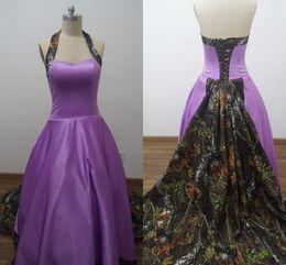 2016 real picture purple camo wedding dresses custom made a line sweep train halter back corset plus size bridal gowns vestidos de novia cheap camo corset