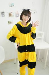 $enCountryForm.capitalKeyWord Canada - Cute Winter Animal Pajamas Women Yellow Bee Cartoon Pyjamas Set Mujer Flannel Hooded Long Sleeves Sleepwear Homewear
