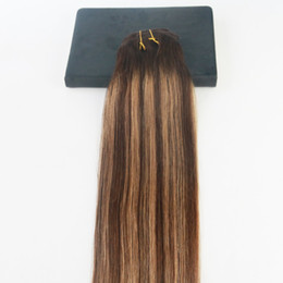 14 24 7pcs 120Gram Ombre Balayage Color 22730 Brazilian Hair Extensions Full Set Clip On 100 Human