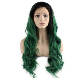 Kanekalon Lace Wigs NZ - SF5 Front Lace Wig Ombre Dark Root Green Wig, Ombre Synthetic Wavy Wig Green Stylish Kanekalon Party Wig Natural Hairline