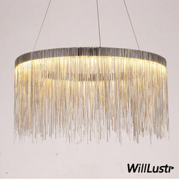 Chinese  Aluminum chain ring chandelier round pendant lamp fringe chains suspension lighting living sitting room hotel restaurant hall mall light manufacturers