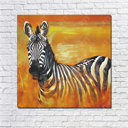 friends decor Canada - 2016 new design best birthday gift for friends hand made handicrafts home wall decor free shipping canvas animal zebra oil painting