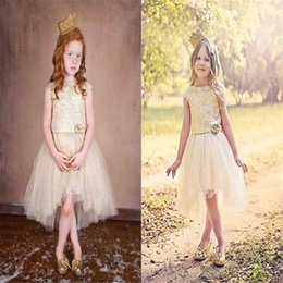 Fancy Beads Canada - Fancy Hand Made Flowers Flower Girls Dresses Jewel Neckline Tulle Princess Kids Wear Knee Length High Quality Girl Pageant Ball Gown