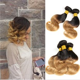 16 inch 1b hair Australia - Honey Blonde Human Hair Bundles 3 Bundles #1B 27 Two Tone Color Hair Weaves Dark Root Ombre Body Wave Hair Extensions 3Pcs Lot