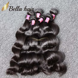 Wholesale Bella Hair A Peruvian Malaysian Indian Brazilian Hair Extension Body Wave Natural Color Mix length Hair Weaves Weft