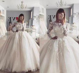 Balls Falls Weddings NZ - 2017 Elegant Ball Gown Wedding Dresses Long Sleeve Bateau Neck Appliqued Lace Sweep Train Tulle Fall Winter Vintage Bridal Gowns